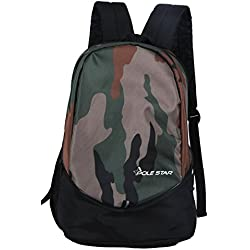 Polestar Ranger 30 Ltrs Camo Green Lightweight Polyester School College Backpack Bag With Laptop Compartment