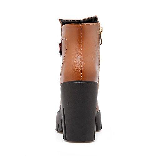AgooLar Damen Reißverschluss Stiletto Schließen Zehe Stiefel, Rot, 35