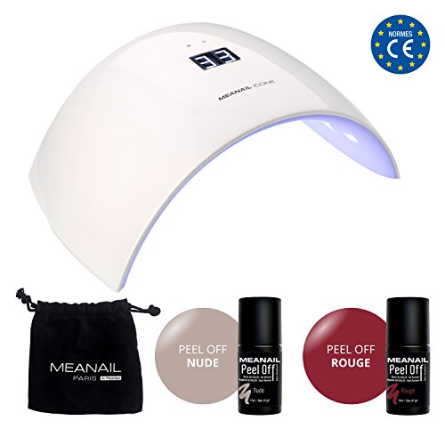 MEANAIL® PARIS • Kit Semipermanente Unghie Professionale Completo • Fornetto Lampada LED + Smalto Gel PEEL OFF • Si toglie facilmente come scotch • Vegan & Cruelty Free Norme CE