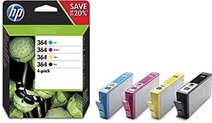HP 364 Multipack Original Druckerpatronen (Schwarz, Rot, Blau, Gelb) für HP Deskjet, HP Officejet, HP Photosmart