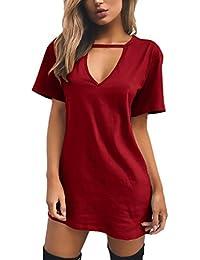 Adelina Vestidos Mujer Verano Elegantes Basicas Cortos Vestido De Camisetas  Manga Corta V Cuello Anchas Color 7588b344f86f