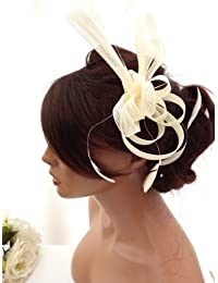 Stunning Cream Net Bow & Feather Hair Comb Slide Fascinator Bridal Wedding Races (Cream)