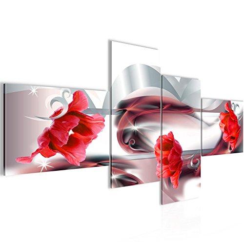 Photo Tulipes de fleurs Décoration Murale 200 x 100 cm Toison - Toile Taille XXL Salon Appartement Décoration Photos d'art Rouge 4 Parties - 100% MADE IN GERMANY - prêt à accrocher 206341b