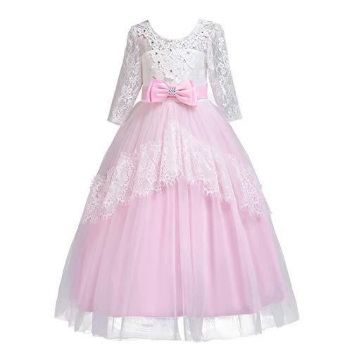 (BESBOMIG Kinder Brautkleider Mädchen Kleider 3-14 Jahre mit Ärmeln - Spitze Schwanz Rock Backless Halloween Party Kostüm)