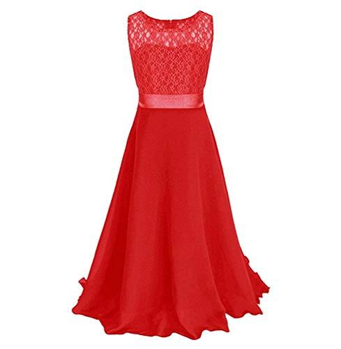 Oudan Mädchen Spitzenkleid Chiffon Kleid Kleid bodenlangen Kleid Hochzeit Brautjungfer Blumenmädchen langes Kleid (Farbe : Rot, Größe : 170) - Mädchen Chiffon Kleid Bodenlangen