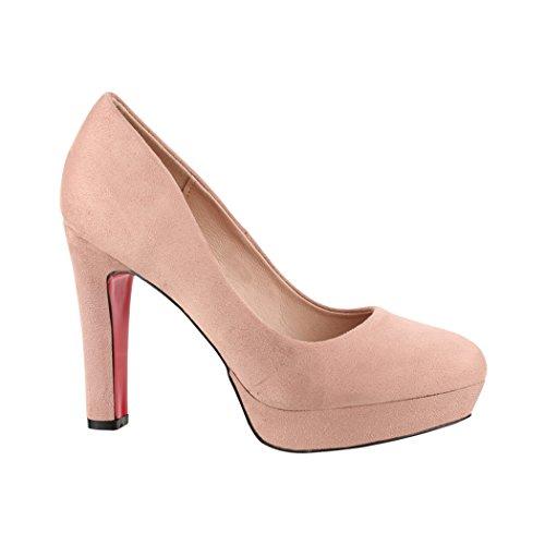 Elara Damen Pumps | Bequeme High Heels | Vintage-Style | Abendschuh Trendy | Chunkyrayan | E22360 Nude-39