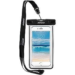 Mpow Funda Impermeable Móvil Universal 6 Pulgadas, Bolsa Movil Playa a Pruebva de Agua y Polvo de Suciedad, Funda Movil Agua IPX8 para iPhone 6 6s 5s 5c 4, Huawei p9 p8, Bq, LG, Xiaomi y Android– Negro