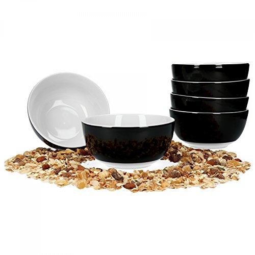 Schwarz-kaffee-tisch-set (Van Well 6er Set Müsli- Salatschale Serie Vario Porzellan - Farbe wählbar, Farbe:schwarz)