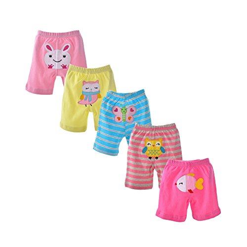 danrol Baby Mädchen 5Stück Cartoon Capri Pants Set 100% Baumwolle Gr. 86, mehrfarbig (Capri Sommer Outfit Set)