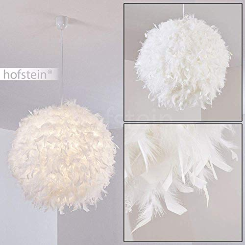 Pendelleuchte Skaulo, moderne Hängelampe aus Metall/Kunststoff mit Federn in Weiß, Ø 50 cm, Höhe 160 cm (kürzbar), E27 max. 40 Watt, Hängeleuchte geeignet für LED Leuchtmittel