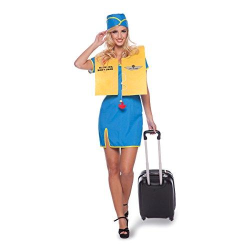 Folat 63301 Stewardess Kostüm, 3-teilig, Größe L-XL, blau (3 Teiliges Stewardess Kostüm)