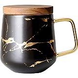 MHFD Tasse à café pour Chats, Tasse à café en céramique Expresso Italien, Tasse à thé l'après-midi, Noir