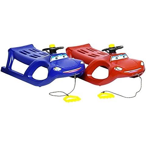 Slittino con volante, clacson e corda da traino bambini slitta neve Bob Bob pattini in metallo, Blau - Volante Slitta