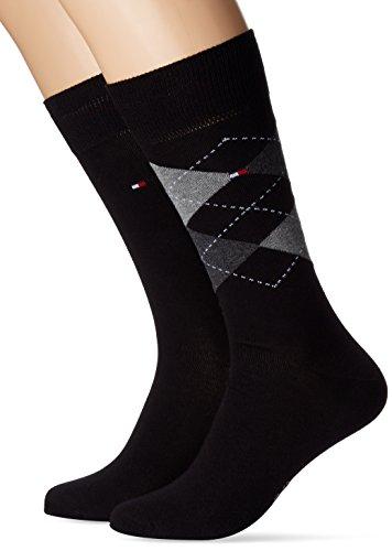 Tommy Hilfiger Herren TH Men Check 2P Socken, Schwarz (Black 200), 47/50 (Herstellergröße: 47-49) (erPack 2)