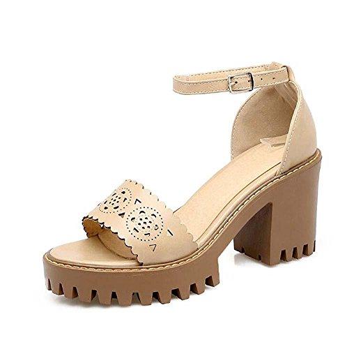 Onfly Donne Peep Toe Tacchi alti Sandali Fibbia della cintura Cinghie di caviglia piattaforma Chunky Tacchi Sandali Dimensioni 32-43 beige