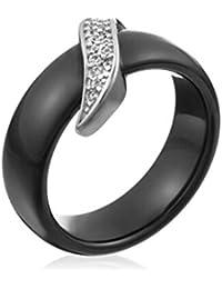 Mes-bijoux.fr - Bague Femme en Céramique Noire et Argent 925/1000 - 7BJ6159BAgv