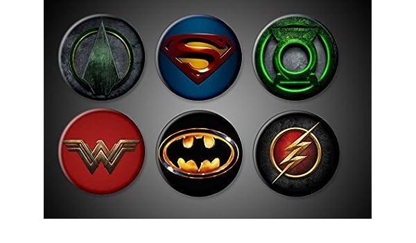 098eeef3816d DC Comics Superhero Pins Pinback Batman Superman Wonder Woman Flash Green  Arrow Green Lantern Set of 6 Superhero pins WonderWoman by DC Comics: ...
