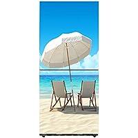 Q&M Stickers Fridge Impermeable Vinilo Cocina Refrigerador Puerta Completa Decoración Playa Paisaje,60 * 180Cm