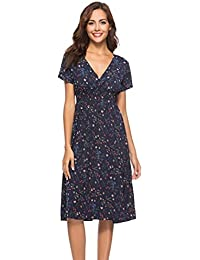 ADESHOP Élégant Robe Femmes V Neck Vacances Floral Print Dress Mesdames  Summer Beach Party Dress Femmes 5a453e57b228
