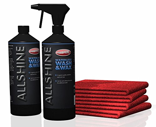 all-shine-waterless-car-wash-wax-kit-makes-2-litres-just-water-plus-4-x-large-microfibre-40-x-40-tow