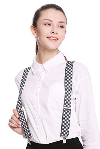 DRESS ME UP - BB-023-black Hosenträger Suspenders Karneval Halloween Schwarz Weiß Karos kariert Ska