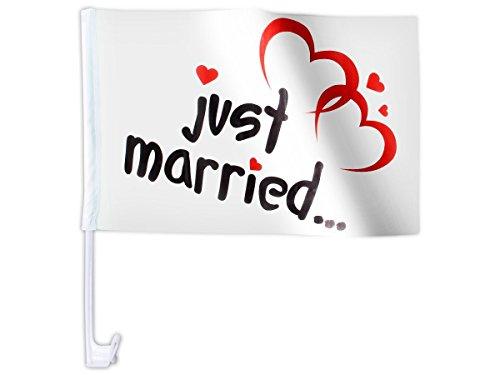 20 Stk. Alsino Autoflagge AFL-10 Autofahne für die Hochzeit 'Just Married' Auto Flagge Fahne