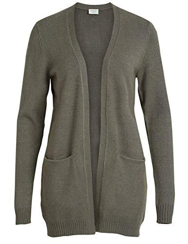 Vila Clothes Damen VIRIL L/S Open Knit Cardigan-NOOS Strickjacke, Grau (Castor Gray Detail:Melange), 34 (Herstellergröße: XS) Gray Griff