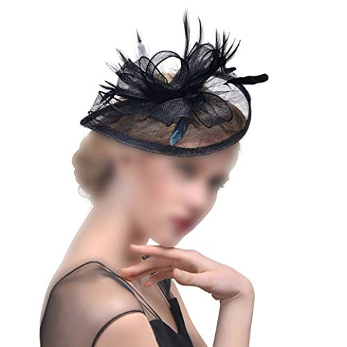 Donad Frauen Fascinator Hut Feder Mesh Cocktail Party Kopfschmuck Hochzeit Haarspange