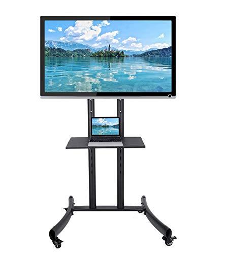 CO-Z Mobiler Standfuß TV Ständer Stand TV Standfuss mit Rollen für LCD, LED, Plasma Fernseher Bildschirme 81cm bis 165cm (32''bis 65''), höhenverstellbar mit Halterung und abschließbaren Rädern -