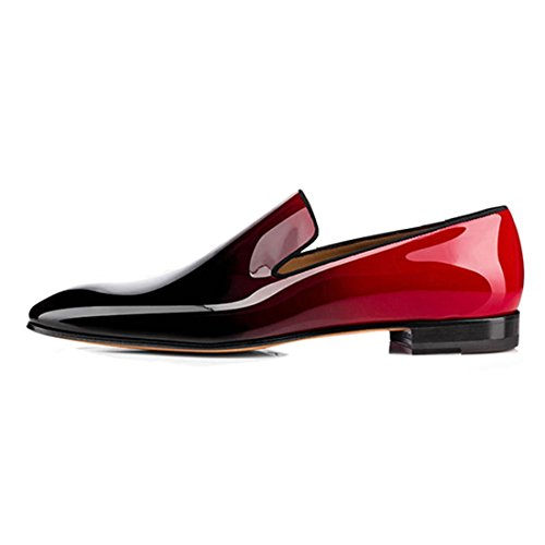 Cuckoo Männer Lackleder Kleid Schuhe Slip On Oxford Loafers Rot