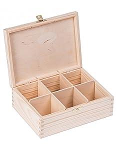 Boîte à thé en bois avec 6 compartiments 16,5 x 22,5 x 8 cm