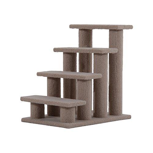 PawHut Tiertreppe Katzentreppe Hundetreppe Treppe für Katze und Hunde 4 Stufe Hellbraun 63,5x43x60cm