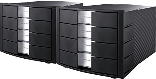 HAN Schubladenbox IMPULS, Innovatives, attraktives Design in höchster Qualität. Mit großem Beschriftungsfeld und 4 geschlossenen Schubladen (2er Set   schwarz)