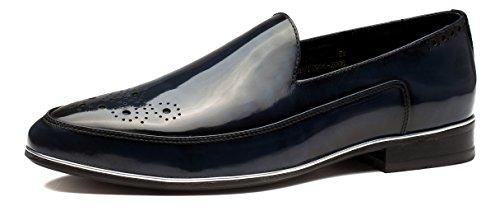 OPP Hombres Loafer Flats vestido formal zapatos de piel suave Tiny agujeros Slip-On decoración, color azul, talla 44 EU