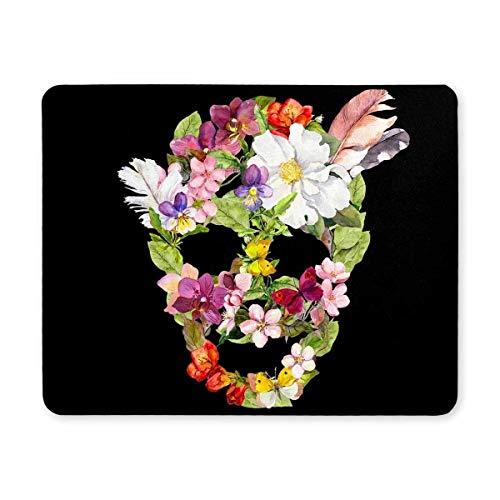 Yanteng Mouse pad da gioco, Mouse Pad Cute Sugar Skull con fiori e penne Tappetini per mouse antiscivolo per computer