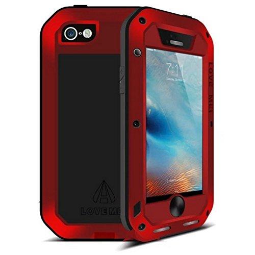iphone 6S plus Hülle Case, Feitenn wasserdicht stoßfest Staub / Schmutz / Schnee Beweis Aluminiummetall Gorilla-Glas Military Schwer Metall Stoßstange Hülle Tasche cover für iphone 6 plus (schwarz) Rot