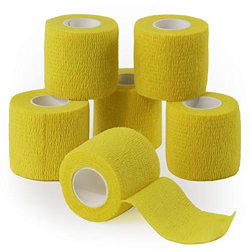 YUMAI vendaje cohesivo de primeros auxilios cinta autoadhesiva 5CM Paquete de 6, Paquete de 12 aprobado por la FDA (Paquete de 6, Amarillo)