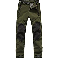 FLYGAGA Homme Softshell Doublé polaire Coupe-vent Imperméable Outdoor Sport Pantalon Escalade Camping Randonnée Trekking (Large, Armée verte)