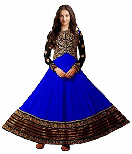 Clickedia Women's Heavy Georgette Semi-stitched Blue & Black Embroidered Floor Length Anarkali Suit with Embroidered koti - Dress Material  available at amazon for Rs.399