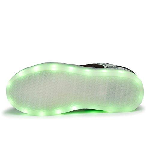 AFFINEST Enfants Chaussures LED Light Up Fashion Camouflage Sneakers Sport Chaussures charge USB de pour Unisexe Garçons Filles Armée verte-A