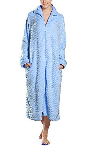 Dolamen Peignoir de Bain pour Femme et Homme longue, Soft Molleton Chemises de nuit Robe peignoir Robe Kimono de nuit de demoiselle d'honneur pyjamas Pochettes Fermeture éclair (Large, Bleu)