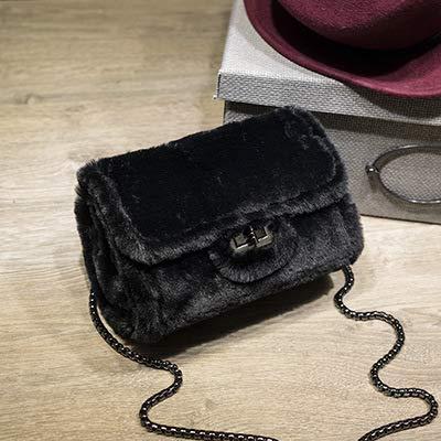 Gsydxkb borsa a tracolla donna autunno e inverno nuova catena di pelliccia borsa quadrata a spalla singola borsa diagonale a spalla singola