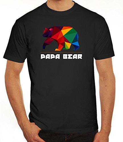 Geschenkidee Herren T-Shirt mit Polygon Papa Bear Motiv von ShirtStreet Schwarz