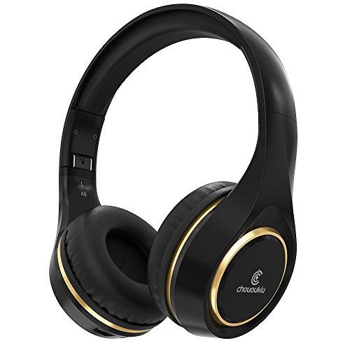 Casque Bluetooth sur l'oreille, Chououkiu Casque sans fil Pliable Hi-Fi Stéréo Casque avec Micro Volume en Ligne, Filaire et sans fil Casque pour Téléphone Portable / TV / PC (Noir/Or)