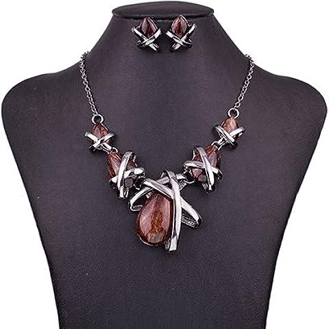 Gioielli Epyen (TM) di marca di modo di impostare regali gioielli Gunmetal placcato 4Colors blu collana Set nuziale partito di alta qualit¨¤ - Gunmetal Moda