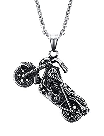 Vnox Mens Stainless Steel Motorbike Motorcycle Pendant Necklace Punk Rock Gothic Jewelry Silver Black,Free Chain