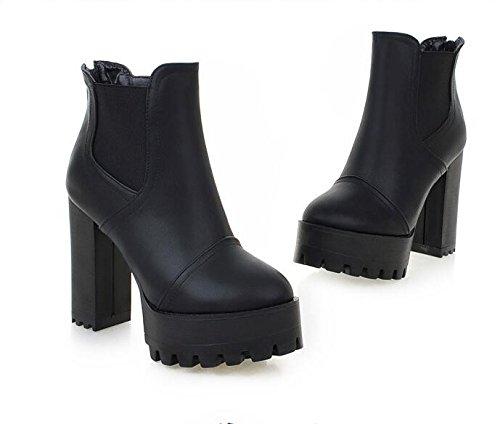 ZQ@QX Testa tonda con tacchi alti fashion zipper impermeabile scarpe da donna black