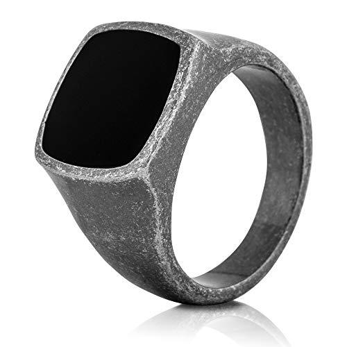 Akitsune Opus Ring | Design-Ring Frauen Herren Edelstahl Groß Minimalistisch Siegel - Antik Silber - US 9