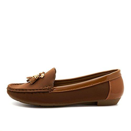 London Footwear ,  Damen Durchgängies Plateau Sandalen mit Keilabsatz Braun