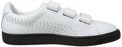Puma Basket Classic Strap B&W, Sneakers Basses Mixte Adulte Blanc (Puma White-puma Black 02)